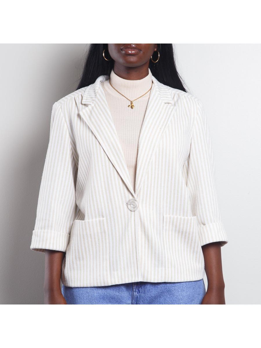 Striped Cool White Blazer