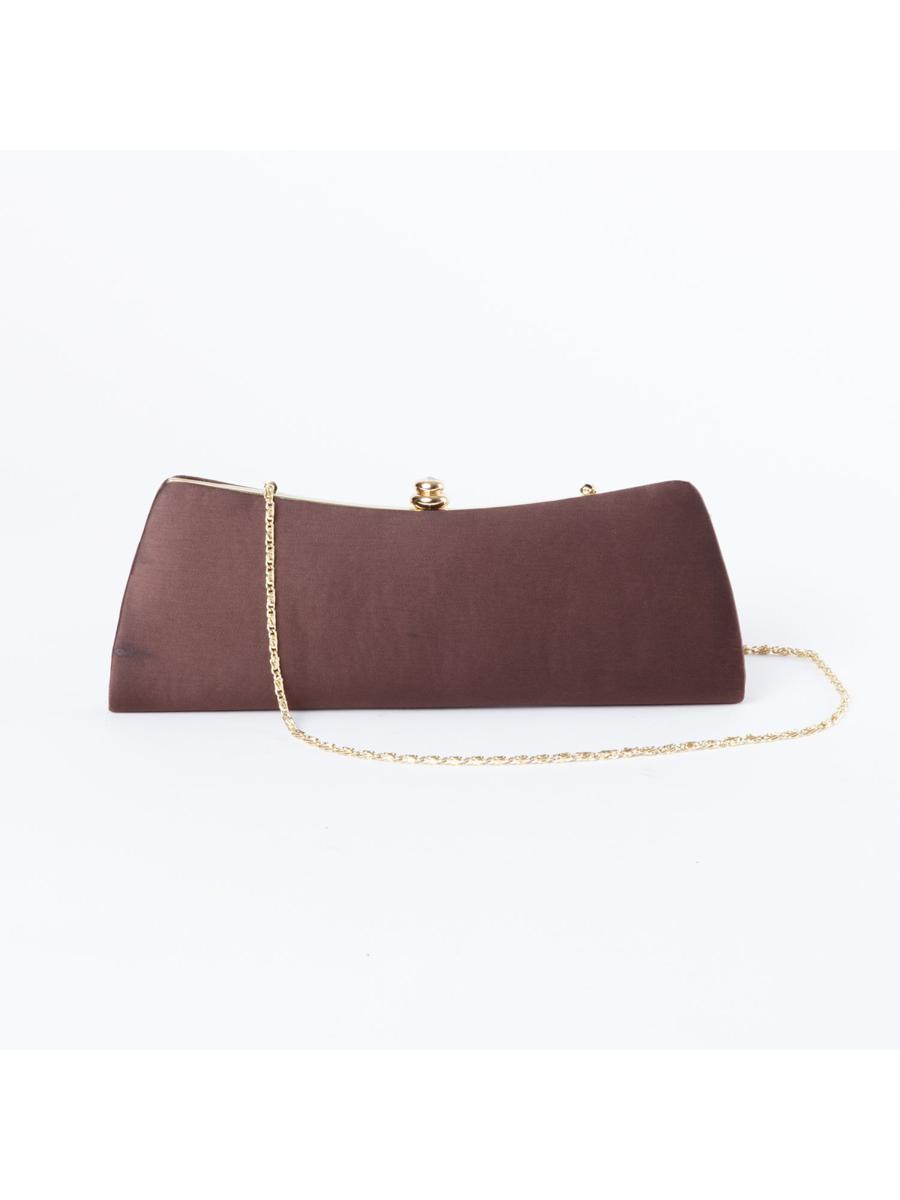 Brown Clutch with Gold Chain