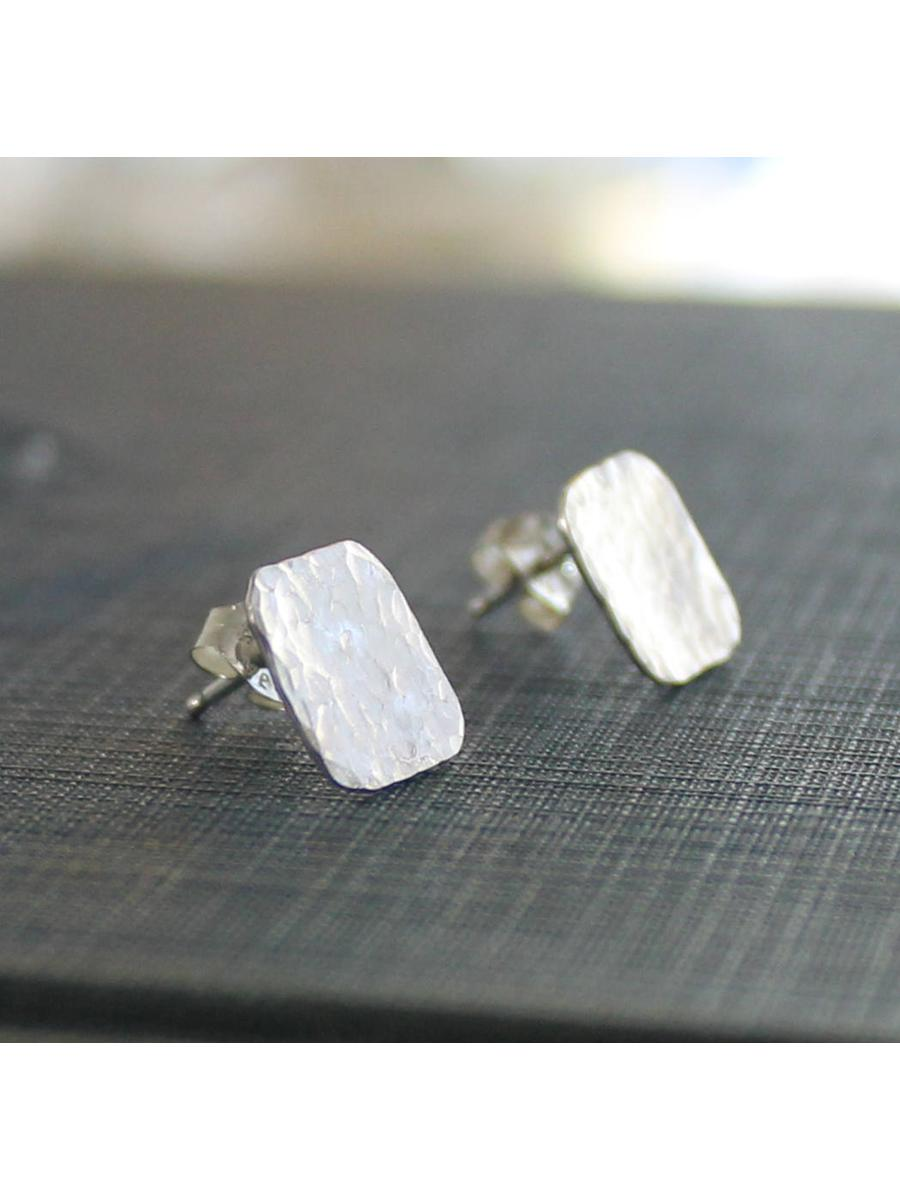 Silver Square Earrings, Hammered Post Earrings, Sterling Silver Post