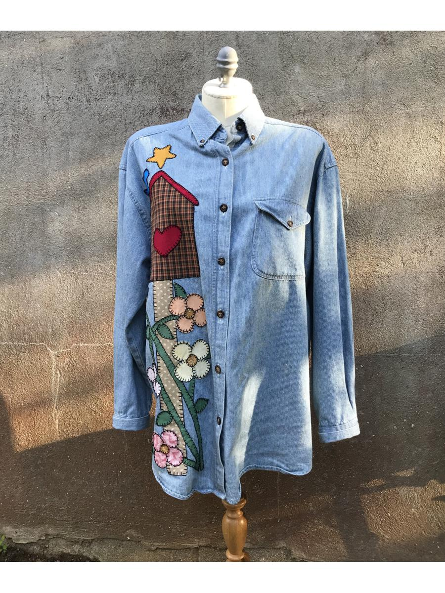 Vintage Faded Glory Denim Long Sleeve Patch Top