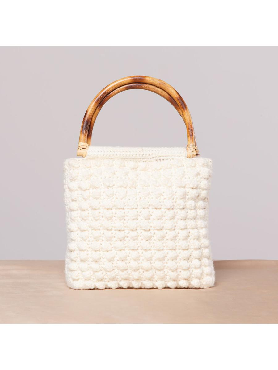 Vintage Knit Purse with Bamboo Handle