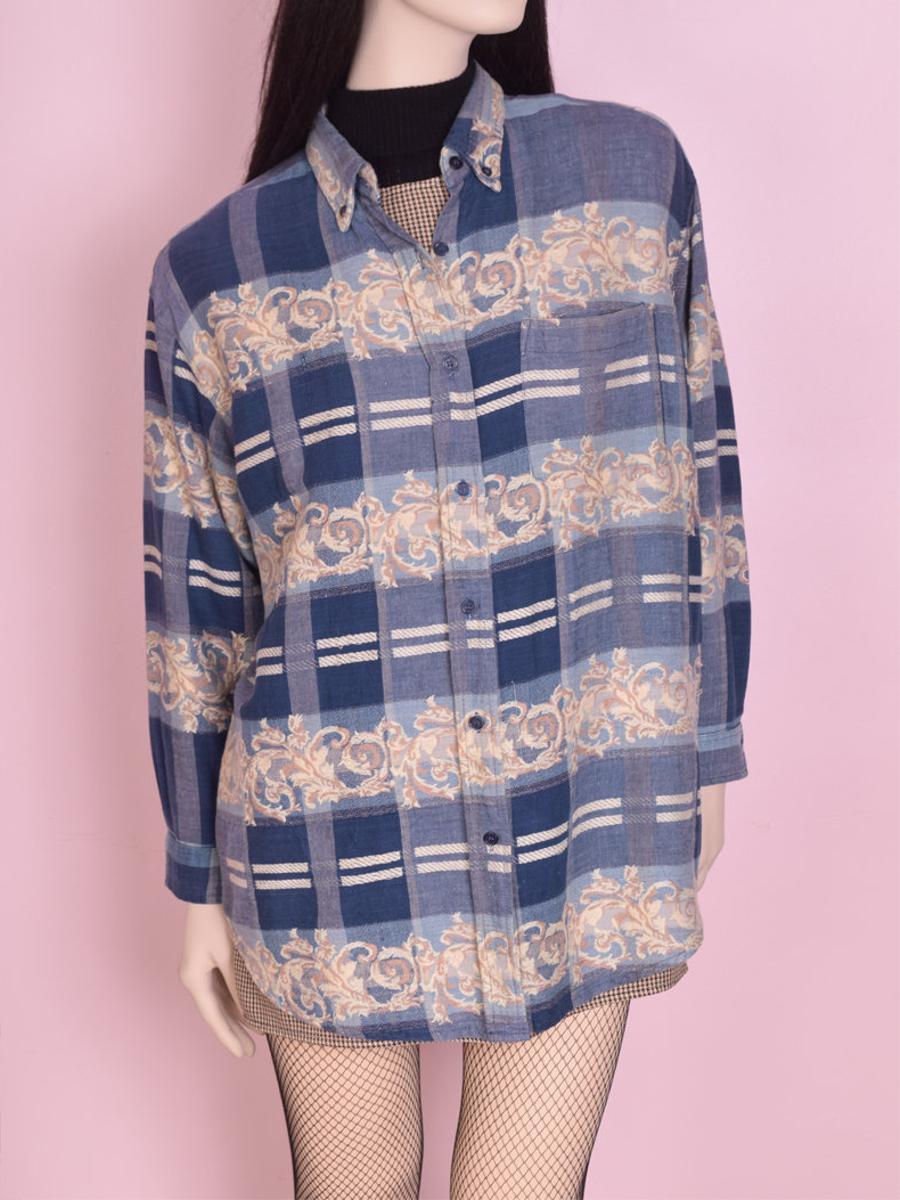 90s Printed Woven Shirt/ Medium/ 1990s/