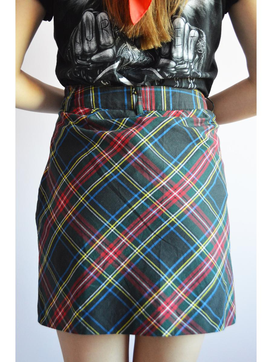 Vintage Y2K tartan plaid A-line mini smart casual cotton