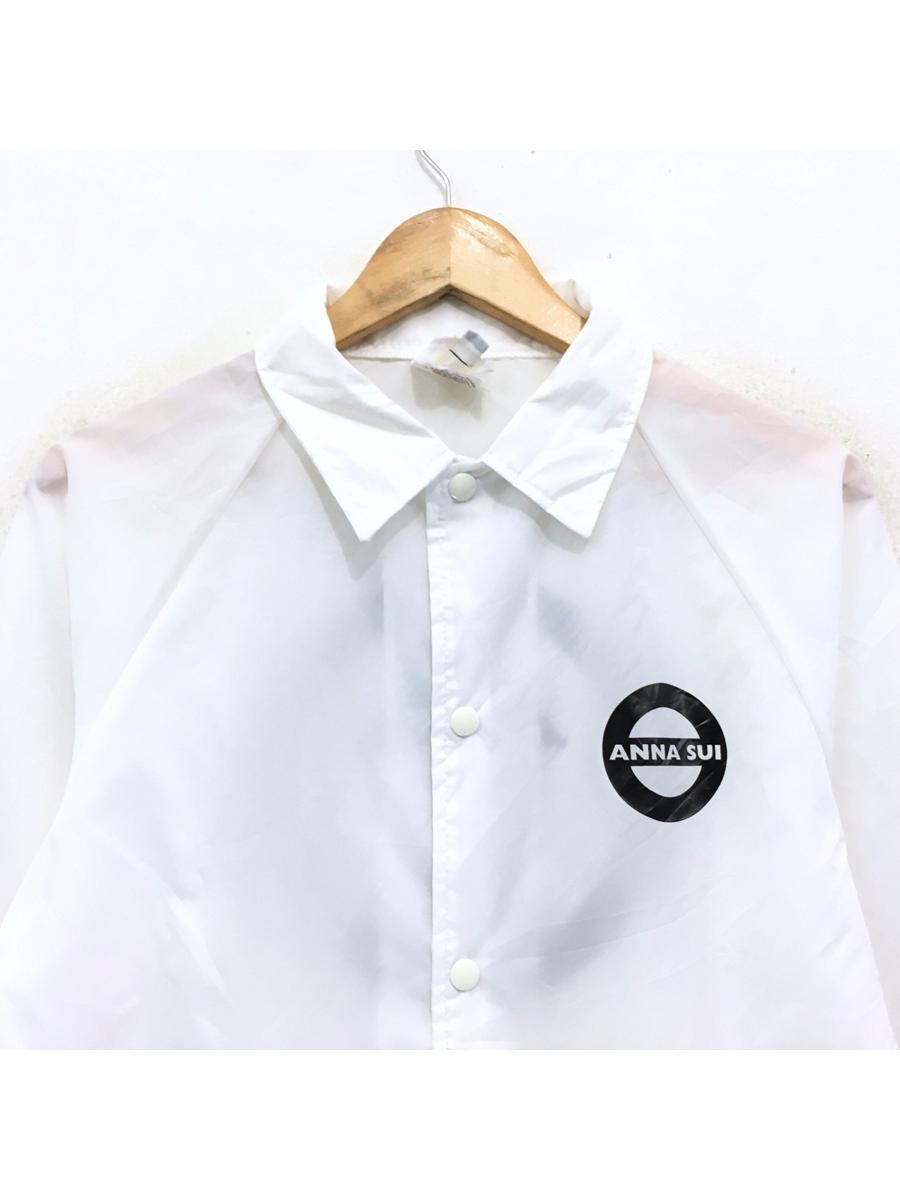 Anna Sui Light Jacket Windbreaker Biglogo Button Up White