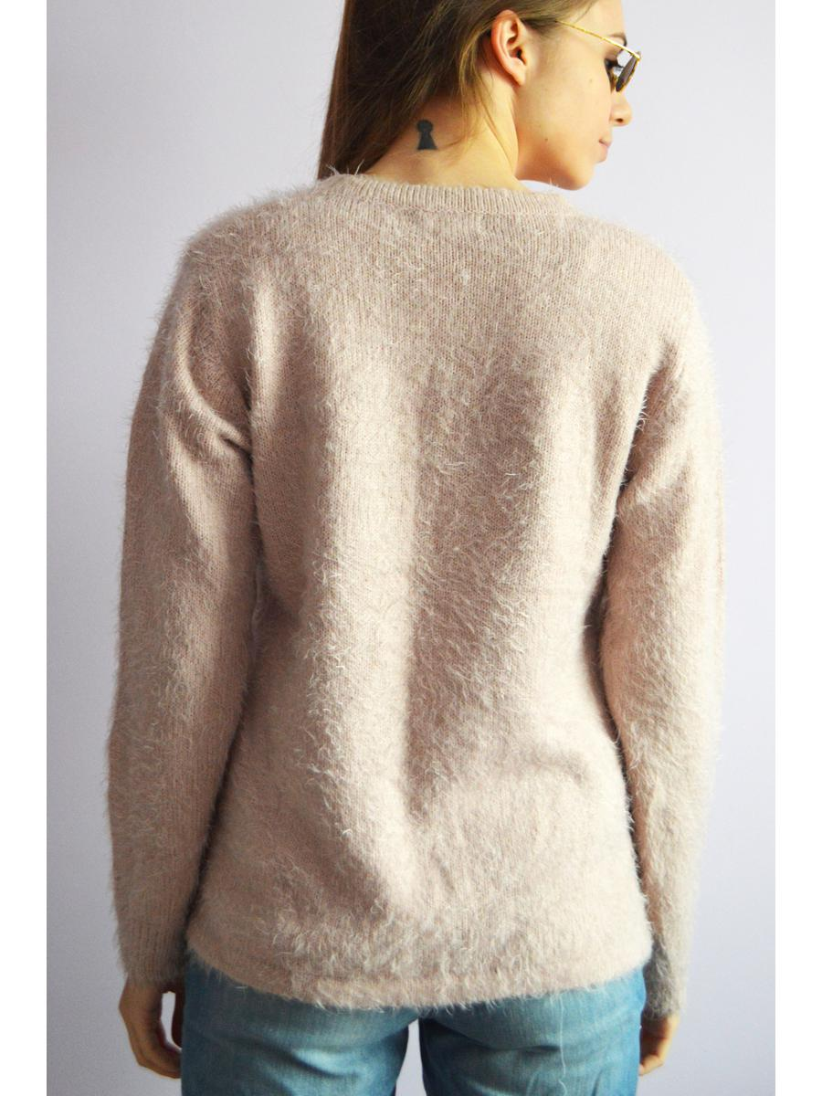 Vintage 80s fluffy beaded pink minimalist sweater jumper