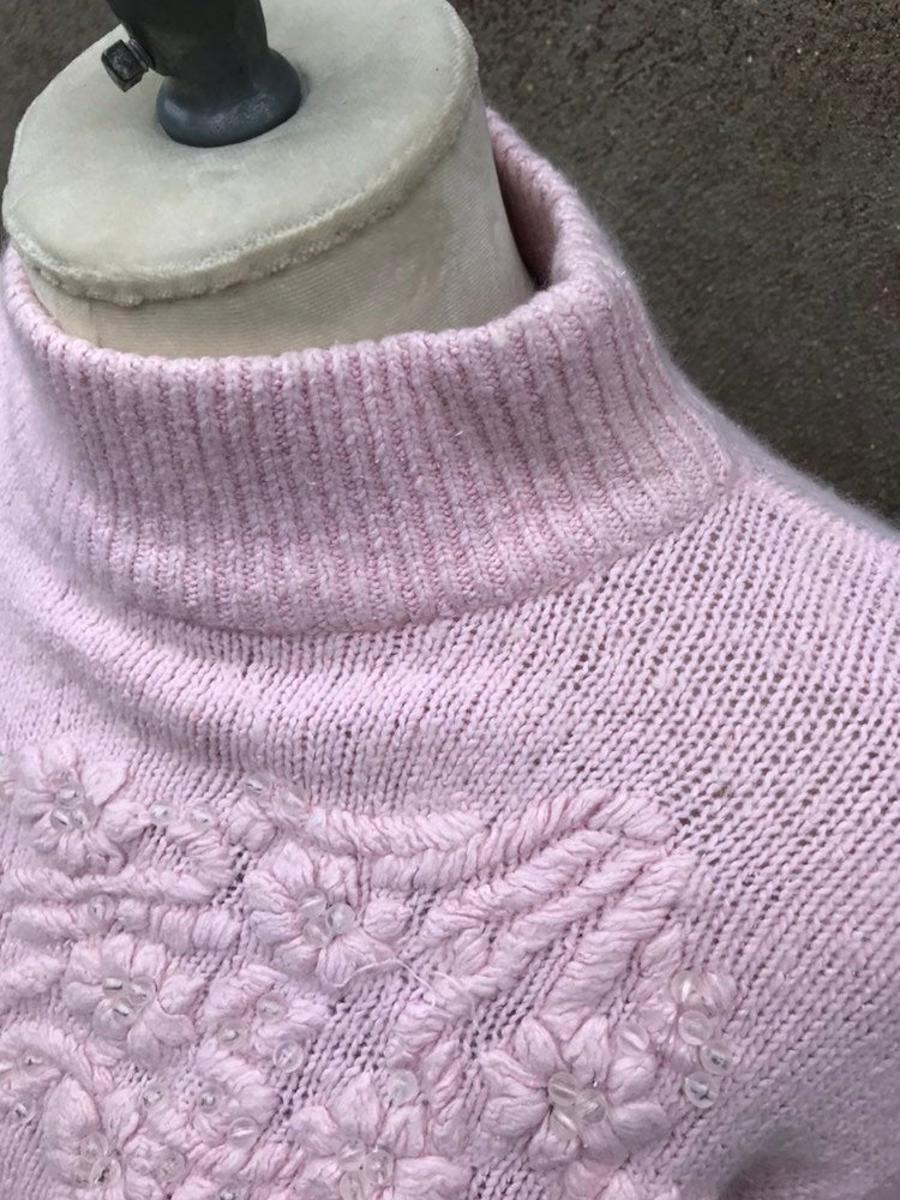 Vintage 90s Bramble Lane Light Pink Mock Turtle Floral