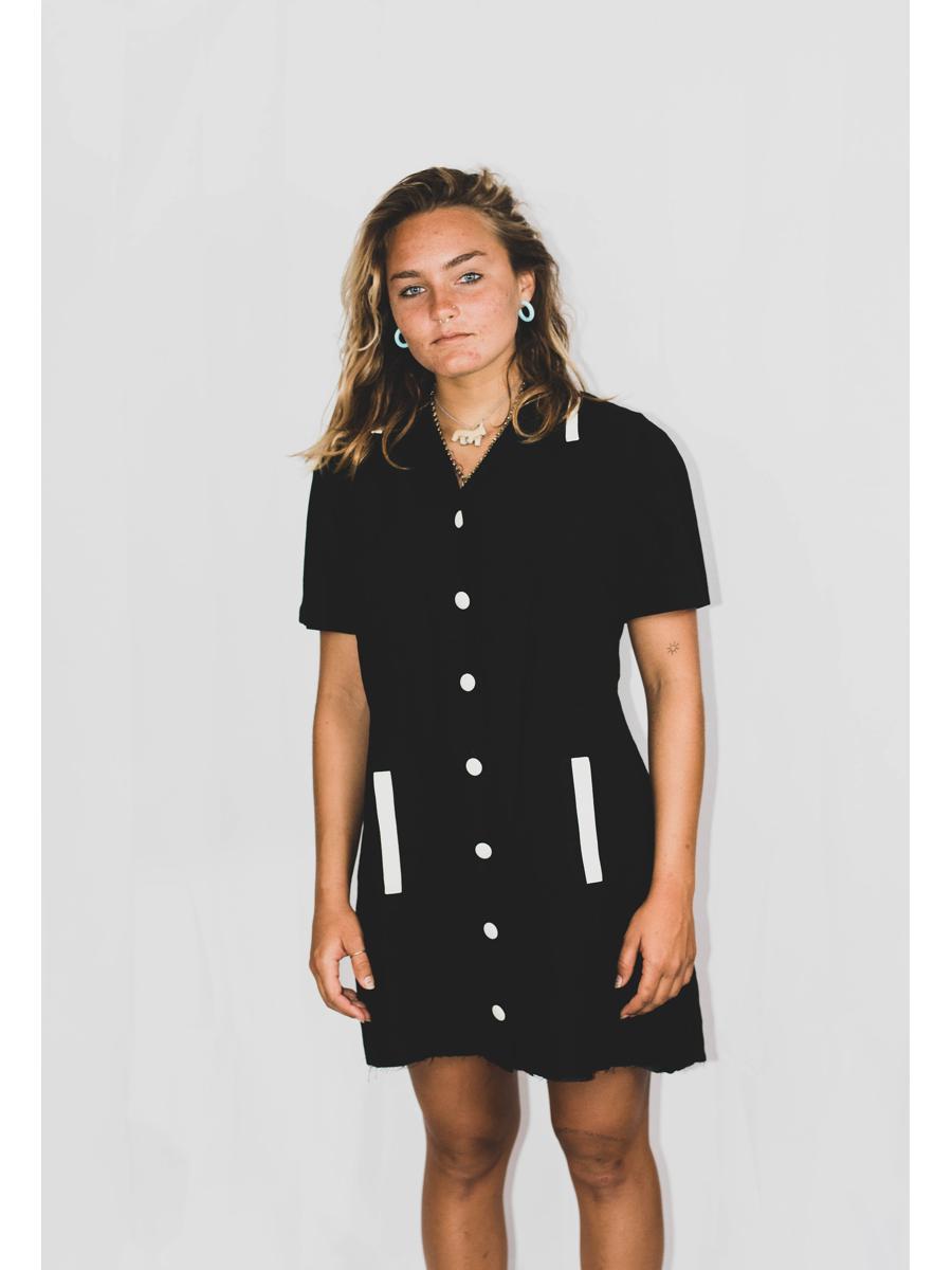 VINTAGE little black button down dress
