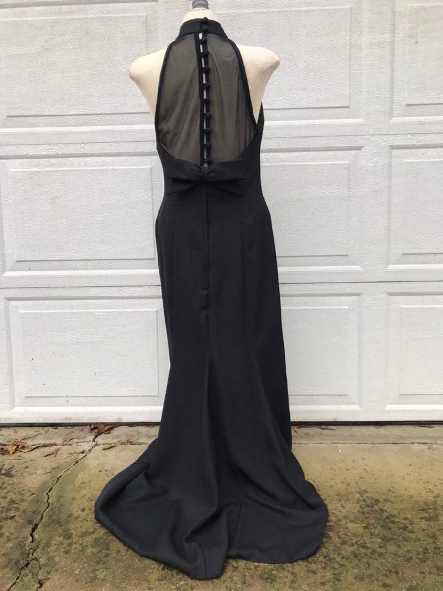 Vintage 80s Black Floor Length Sheer Button Up Halter