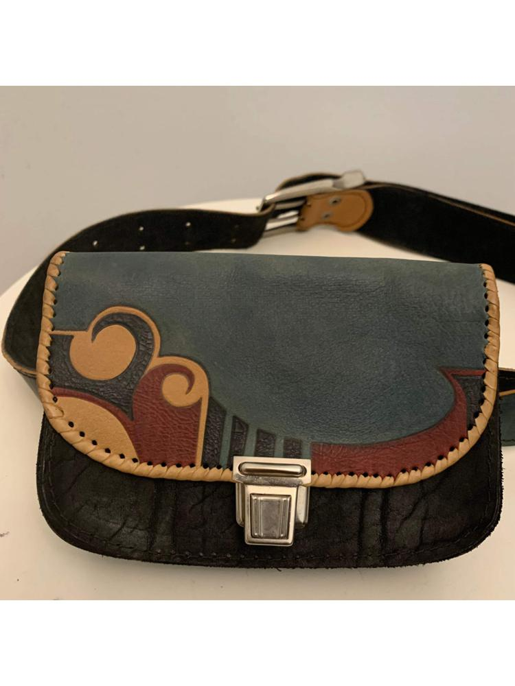 Abstract Print Leather Belt Bag