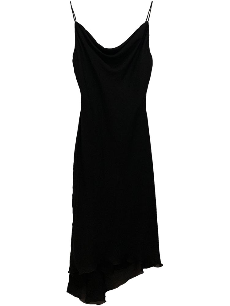 Asymmetrical Spaghetti Strap Little Black Dress