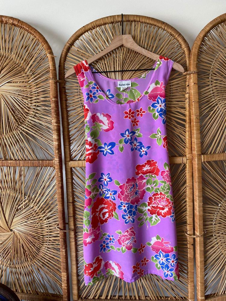 1990's Purple Floral Mini Dress