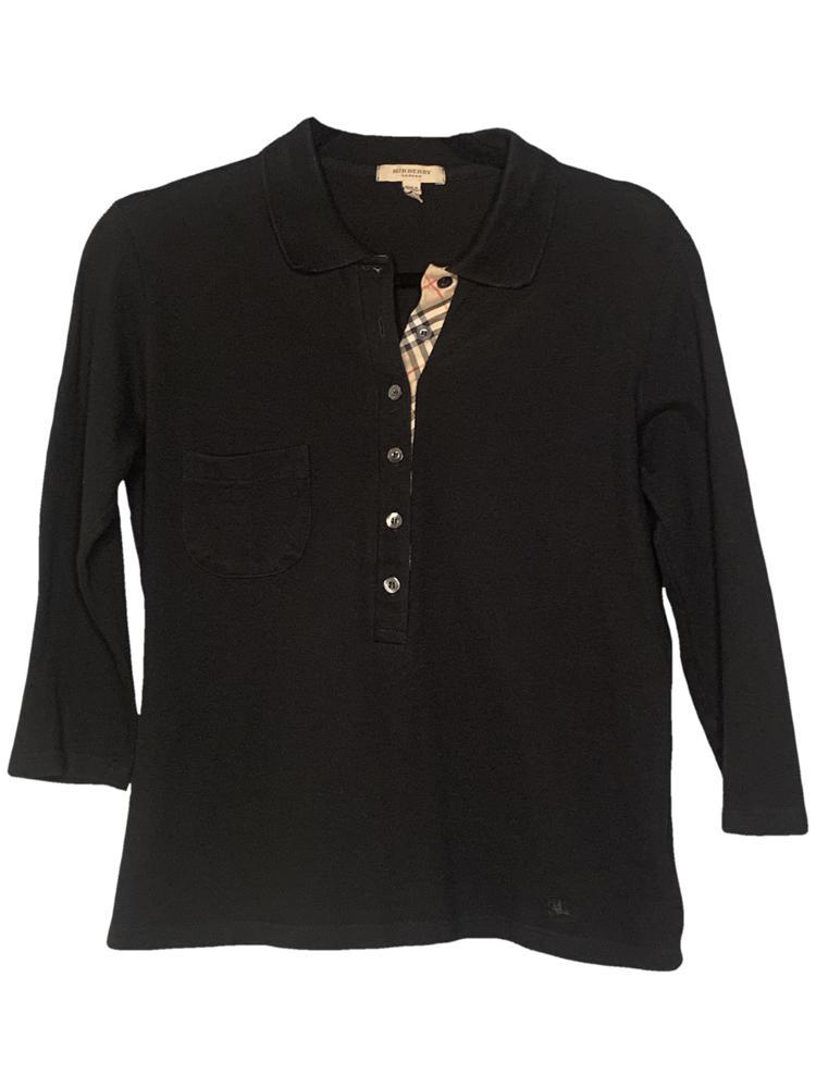 Burberry Quarter Sleeve Black Polo