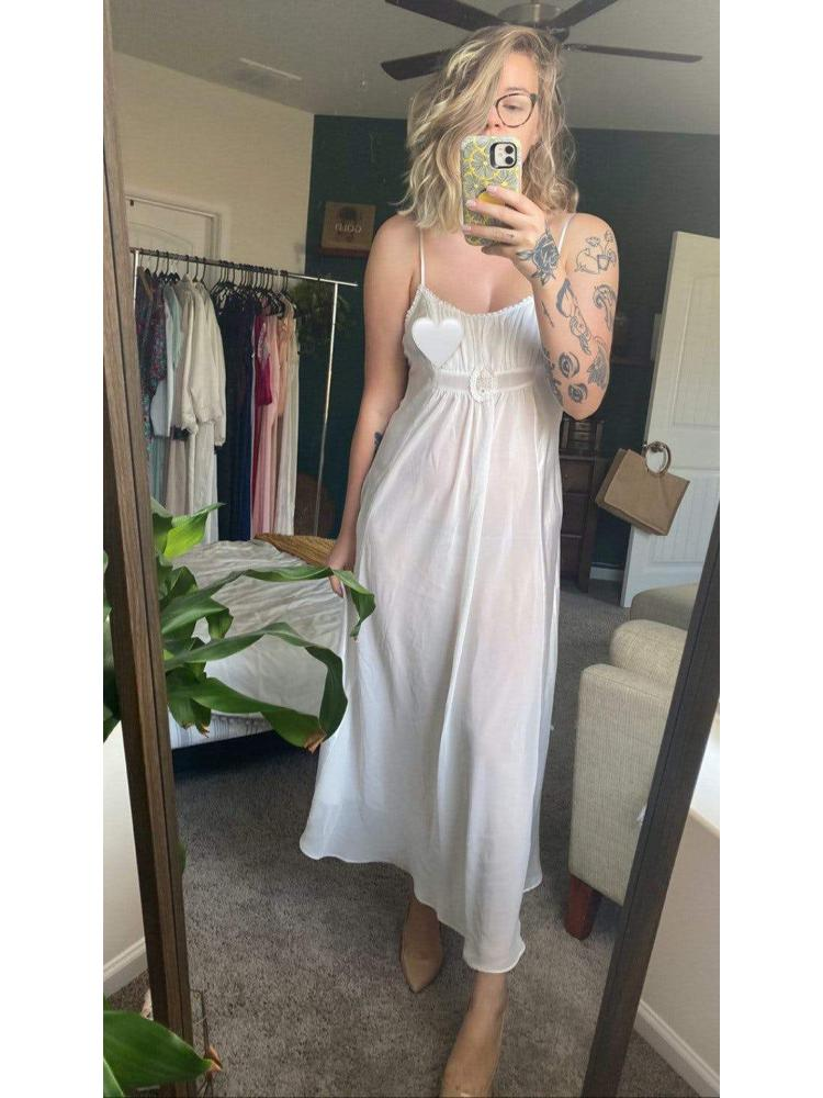 90's SemiSheer White Nightgown