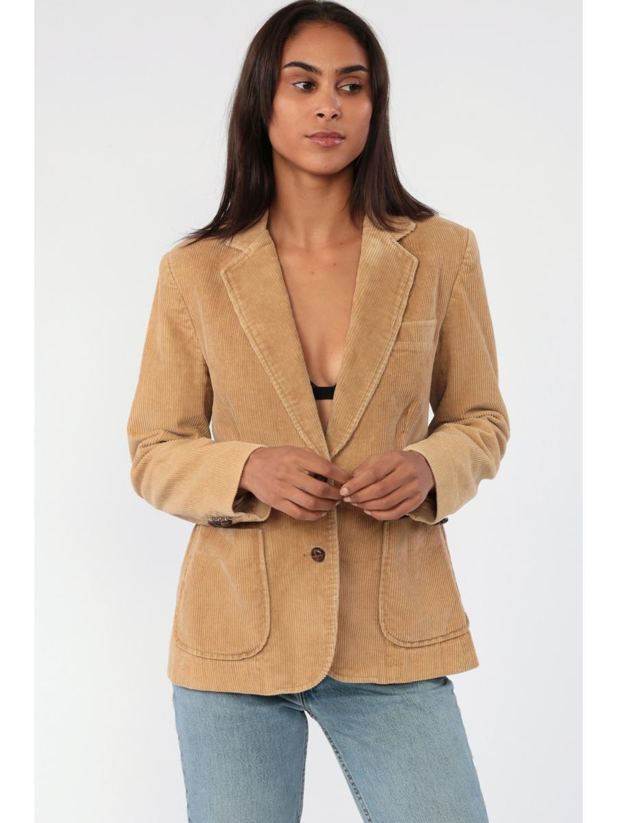 Tan Corduroy Blazer Jacket 70s Blazer Jacket Preppy Brown