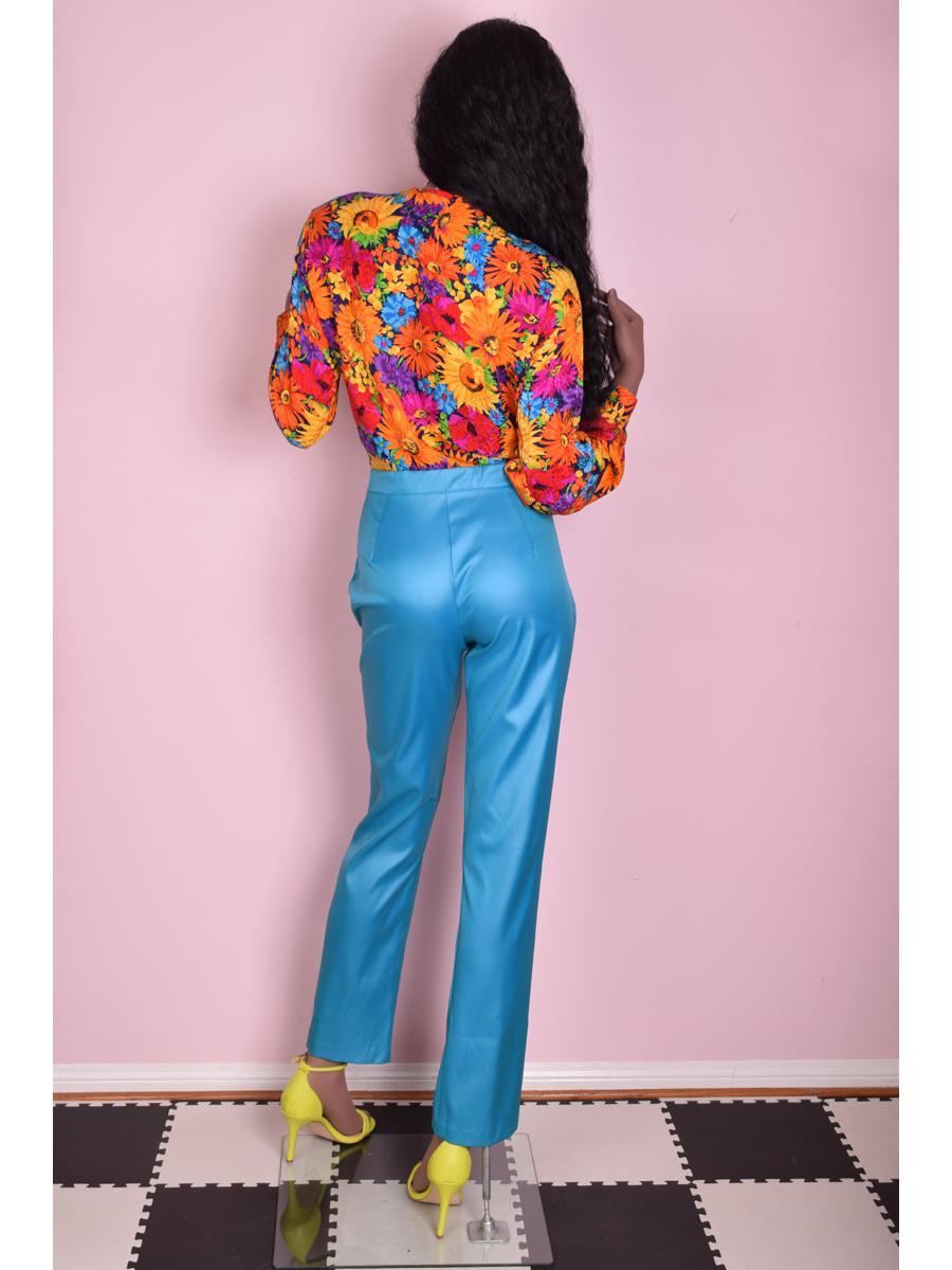 80s Blue High Waisted Pants/ Medium/