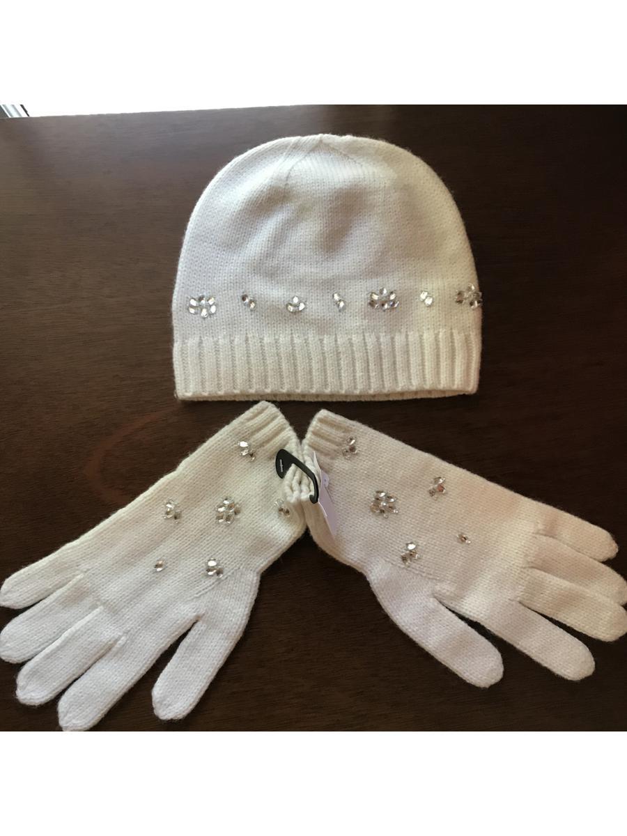 Stoned White Glove + Beanie Set   Banana Republic