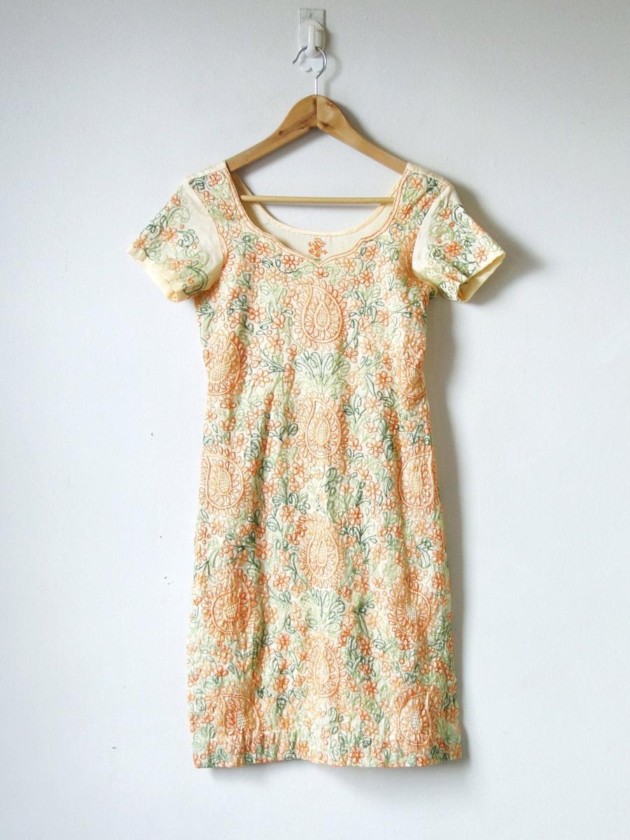 60s Paisley Linen Tunic Dress - Paisley Dress