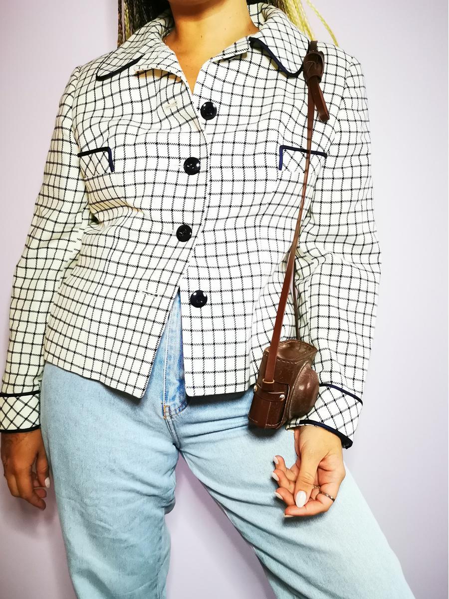 Vintage 80s plaid partly woolen buttoned blazer jacket