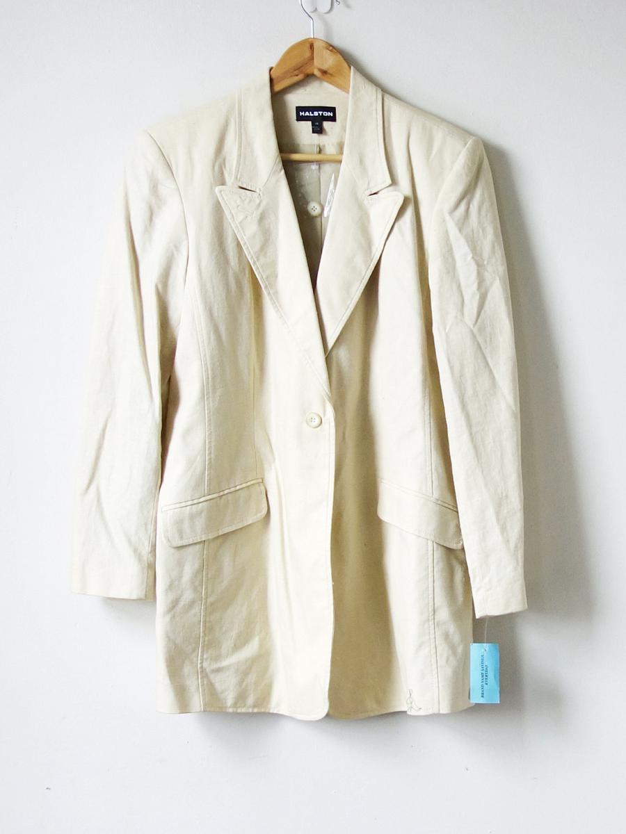 90s Halston Linen Blazer - Oversized Blazer - 90s