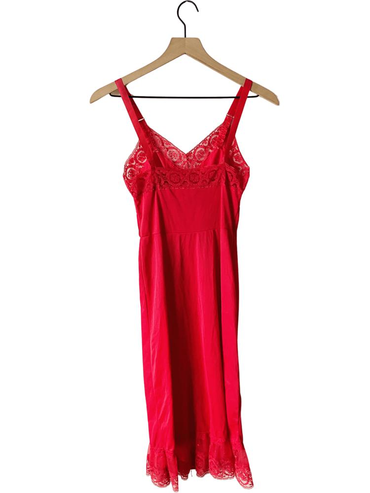 70's Red Ruffle Slip Dress