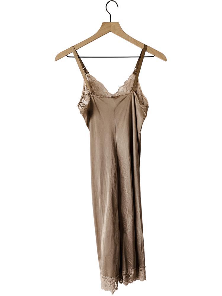 80's Mocha Lace Slip Dress