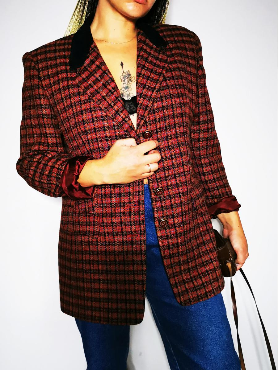 Vintage 80s plaid partly woolen buttoned blazer jacket