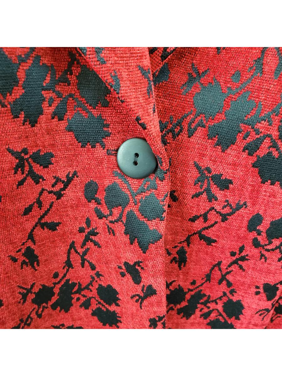 Studio C Vintage One Button Floral Blazer Womens Plus