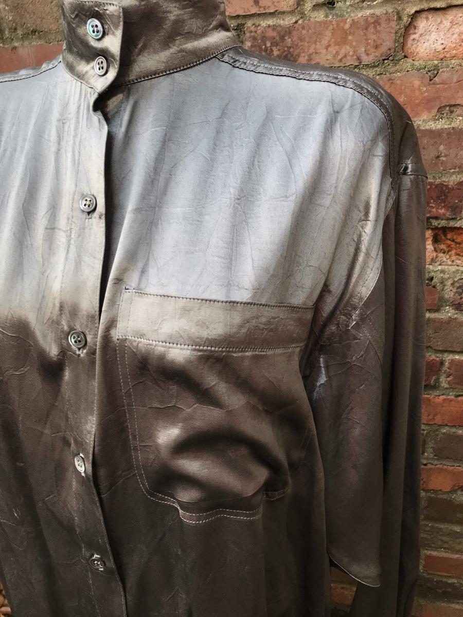 Vintage 80s Danny Noble Metallic Silver Long Sleeve High