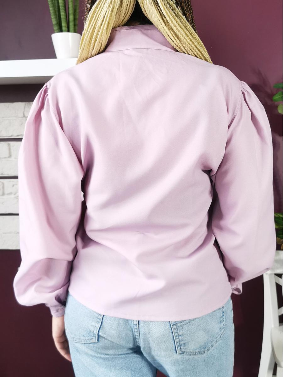 Vintage 80s Victorian puff sleeve lilac shirt blouse top