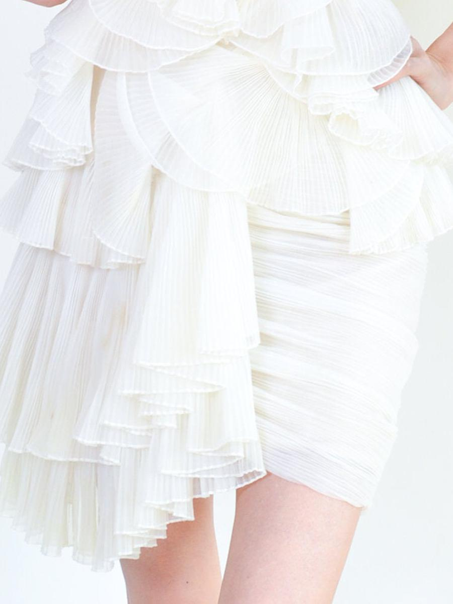 Y2K Party Dress White Ruffle Mini Dress Y2K Party