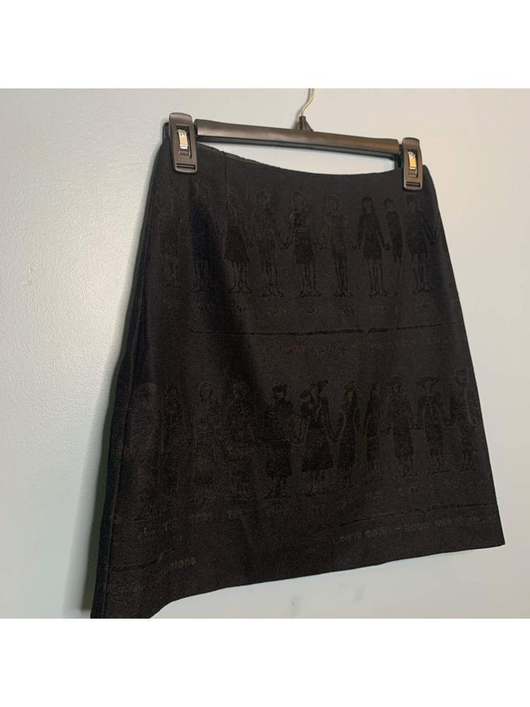 Black Mini Skirt with Decorative Felt