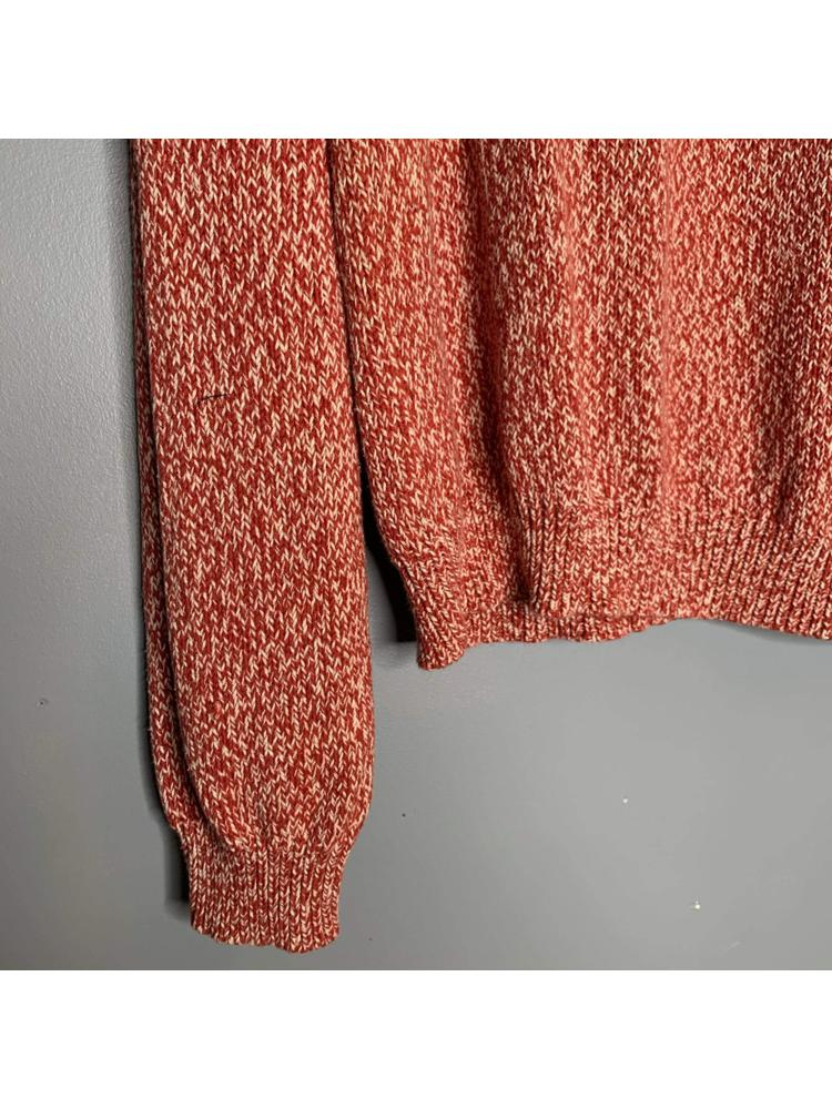 Red and White Speckled Knit Sweater
