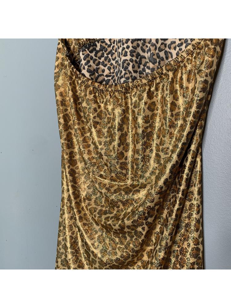 Gold Sparkle Leopard Print Halter Dress