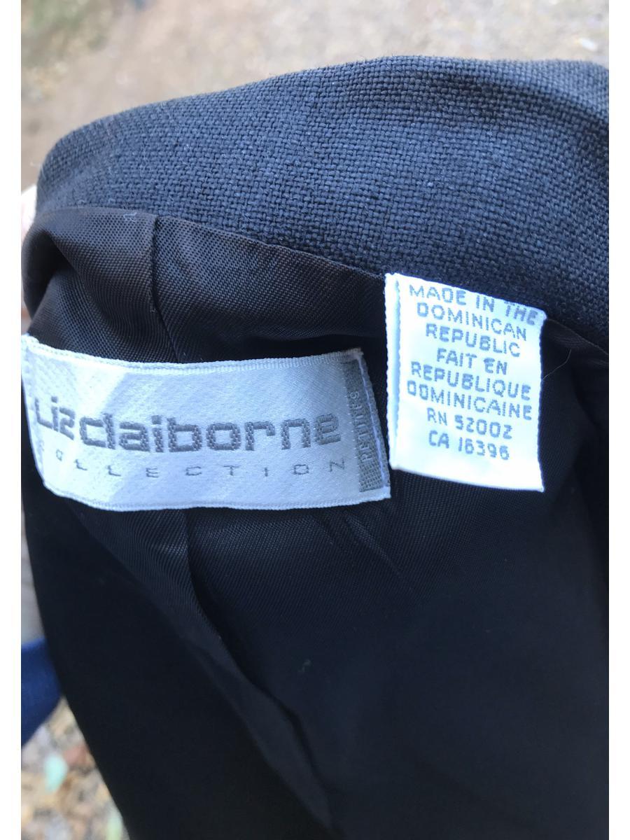 Vintage 90s Liz Claiborne Petites Black 100% Linen Cropped
