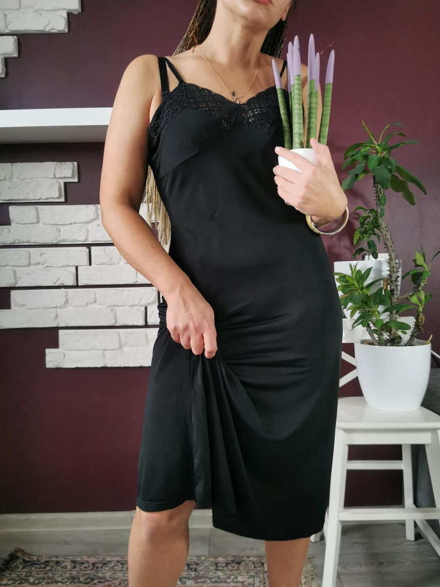 Vintage 80s minimalist underwear midi black slip dress L