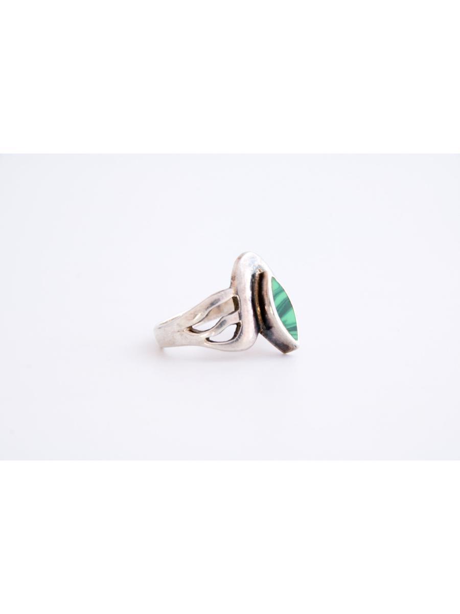 Malachite Ring, Vintage Malachite and Sterling Silver Marquise Shape