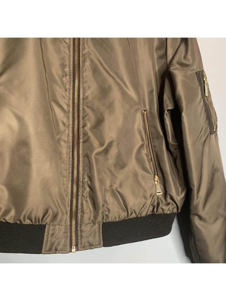 Khaki & Black Bomber Jacket