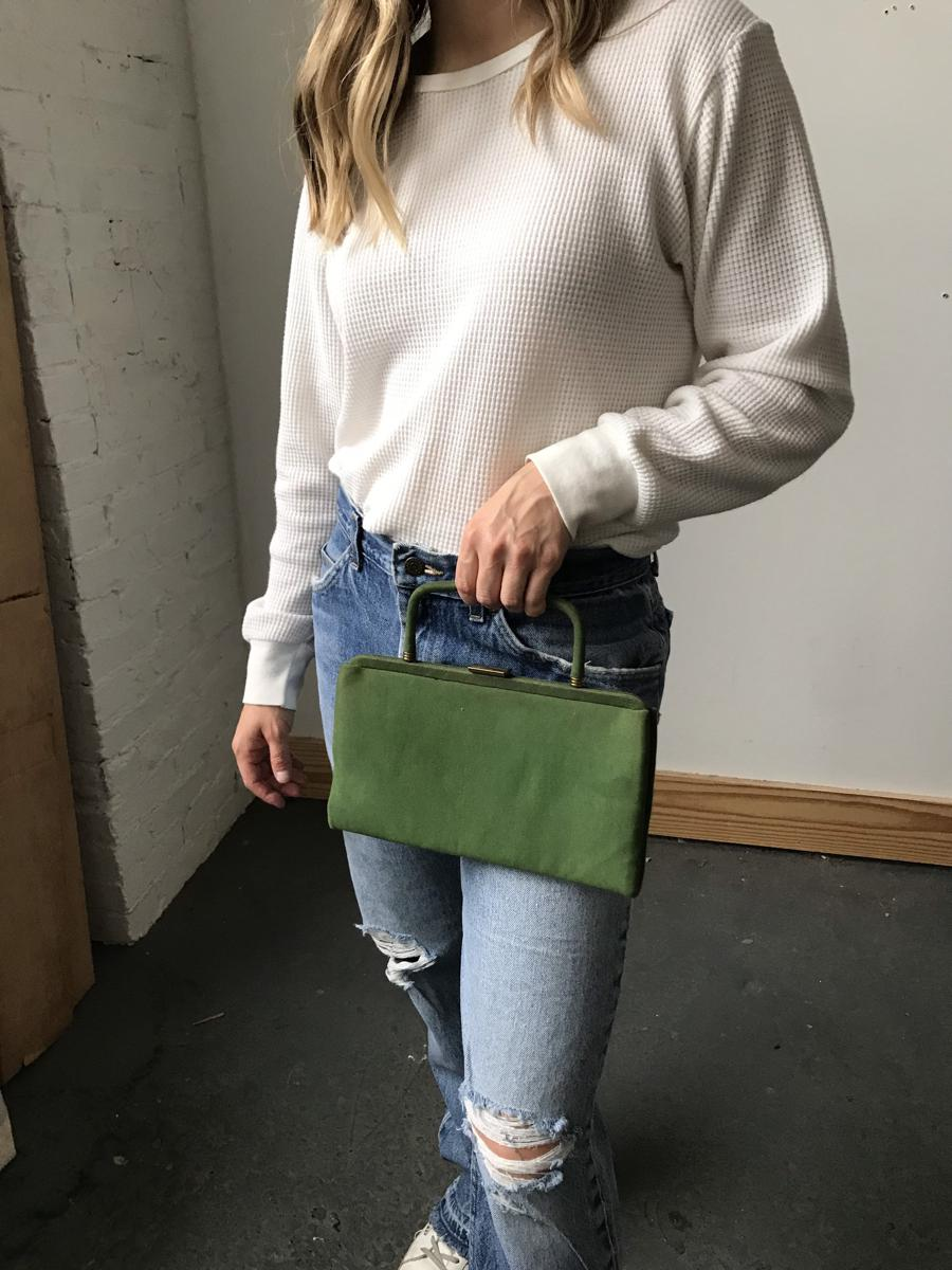 Vintage 1960s Garay Dark Green Top Handle Clutch Bag