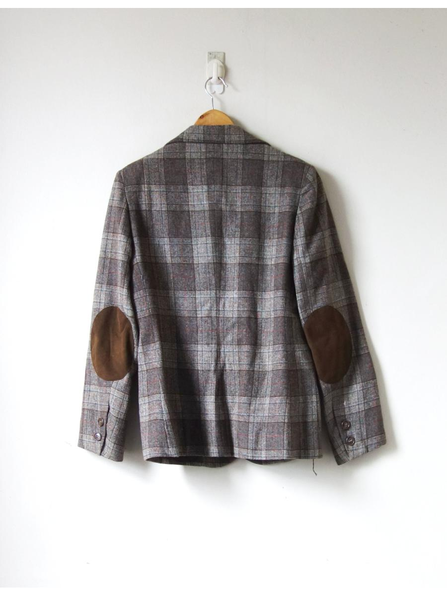 70s Beige & Gray Plaid Wool Blazer - 70s