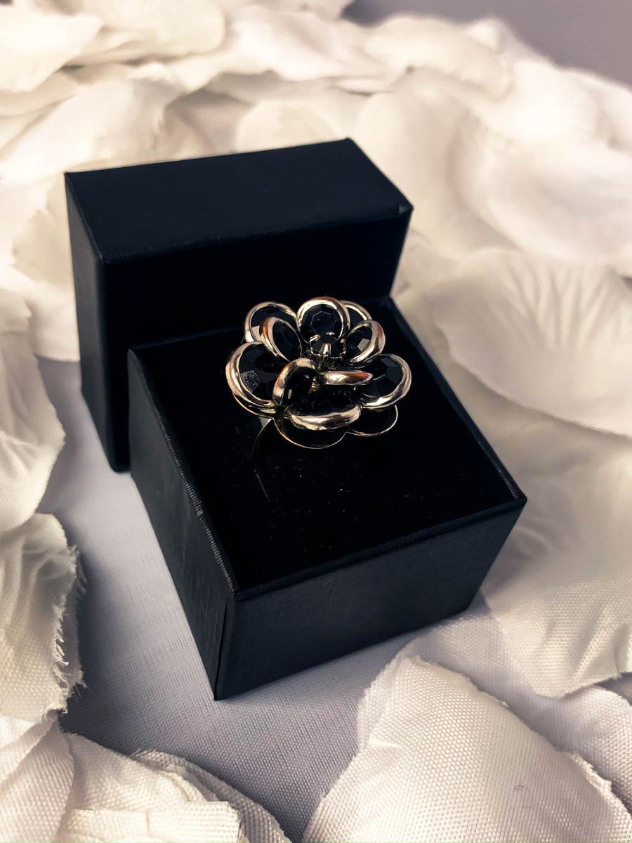 Onyx Black Rose Vintage Ring, Art Deco Anniversary Ring