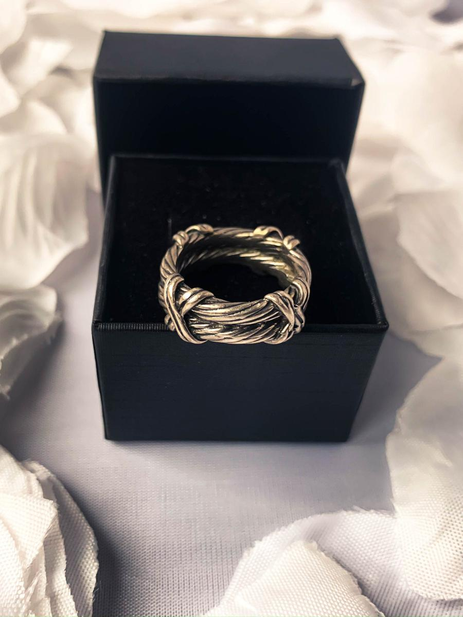 Thick Threaded Silver Tone Band, Vintage Ring, Costume Jewelry