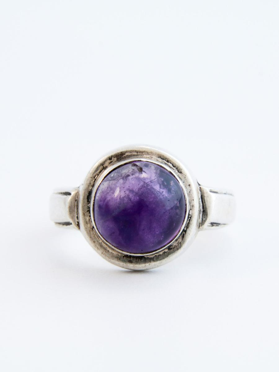 Amethyst Cabochon Ring, Vintage Amethyst and Silver Ring, Half