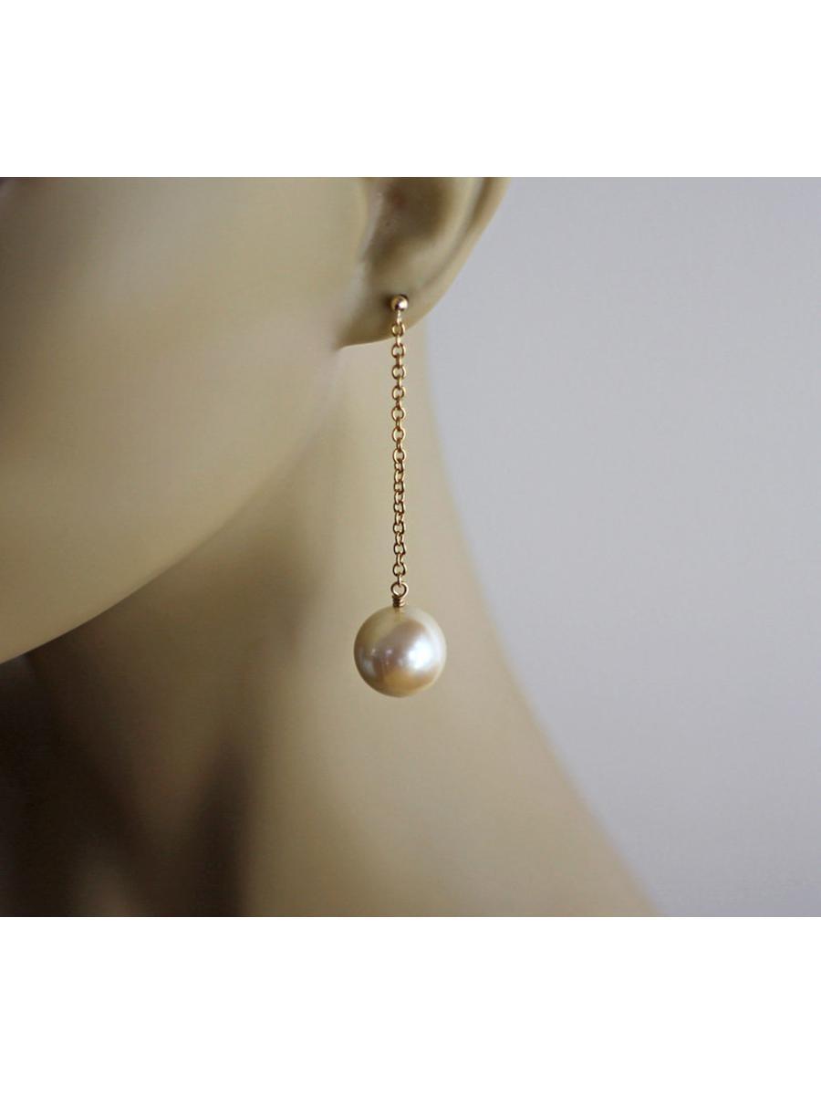 Big Faux Pearl Earrings Chain Drop Earrings Gold Fill