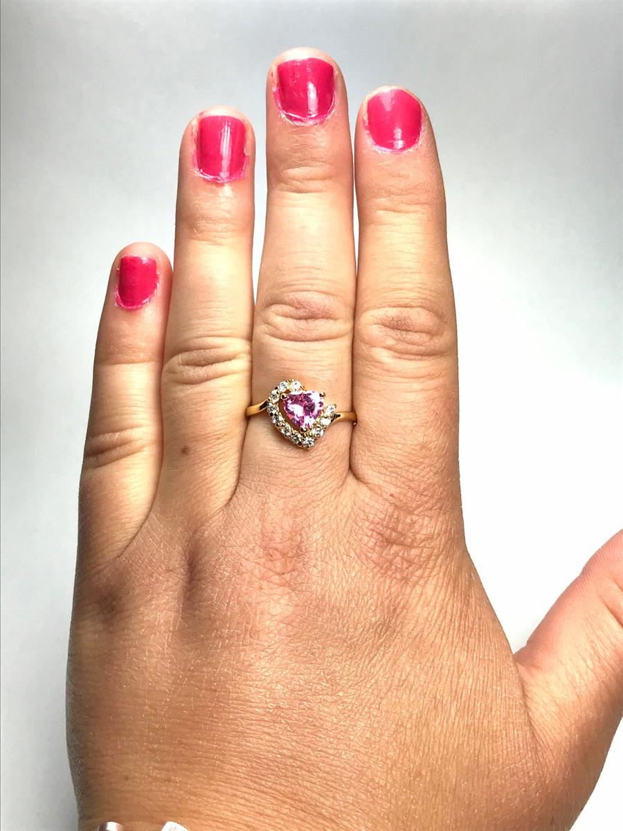 Size 9, Pink Heart Shaped Cubic Zirconia Statement Ring