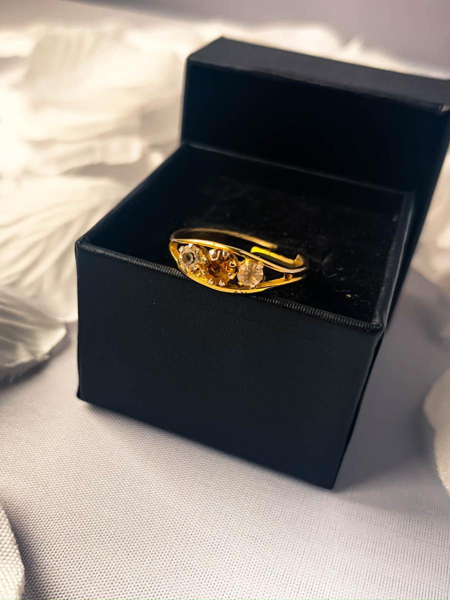 Gold Tone Multistone Rhinestone Ring, Antique Cocktail Ring, Vintage