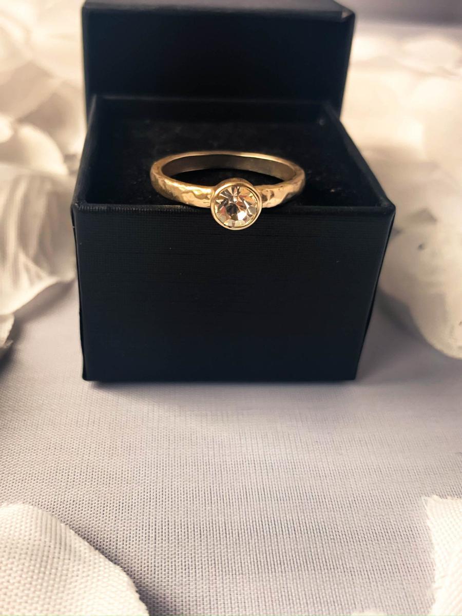 Silver Tone Solitaire Rhinestone Ring, Minimalist Artsy Ring, Costume