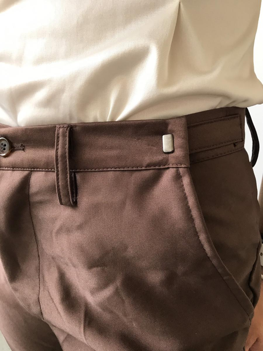 Vintage 90s Mid-Rise Glossy Brown Straight Leg Trousers Slacks