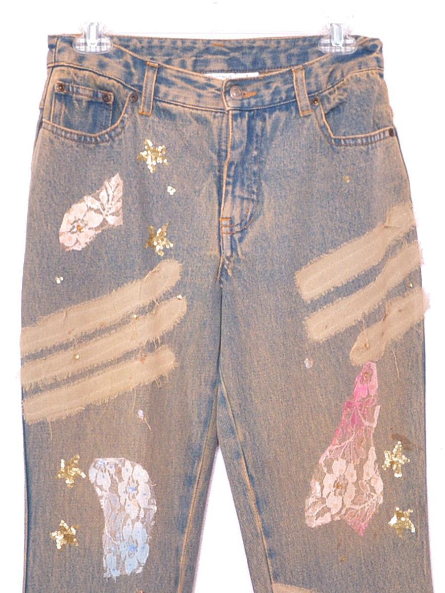 2000s Jeans Y2K  Jeans Blue Lace Sequin