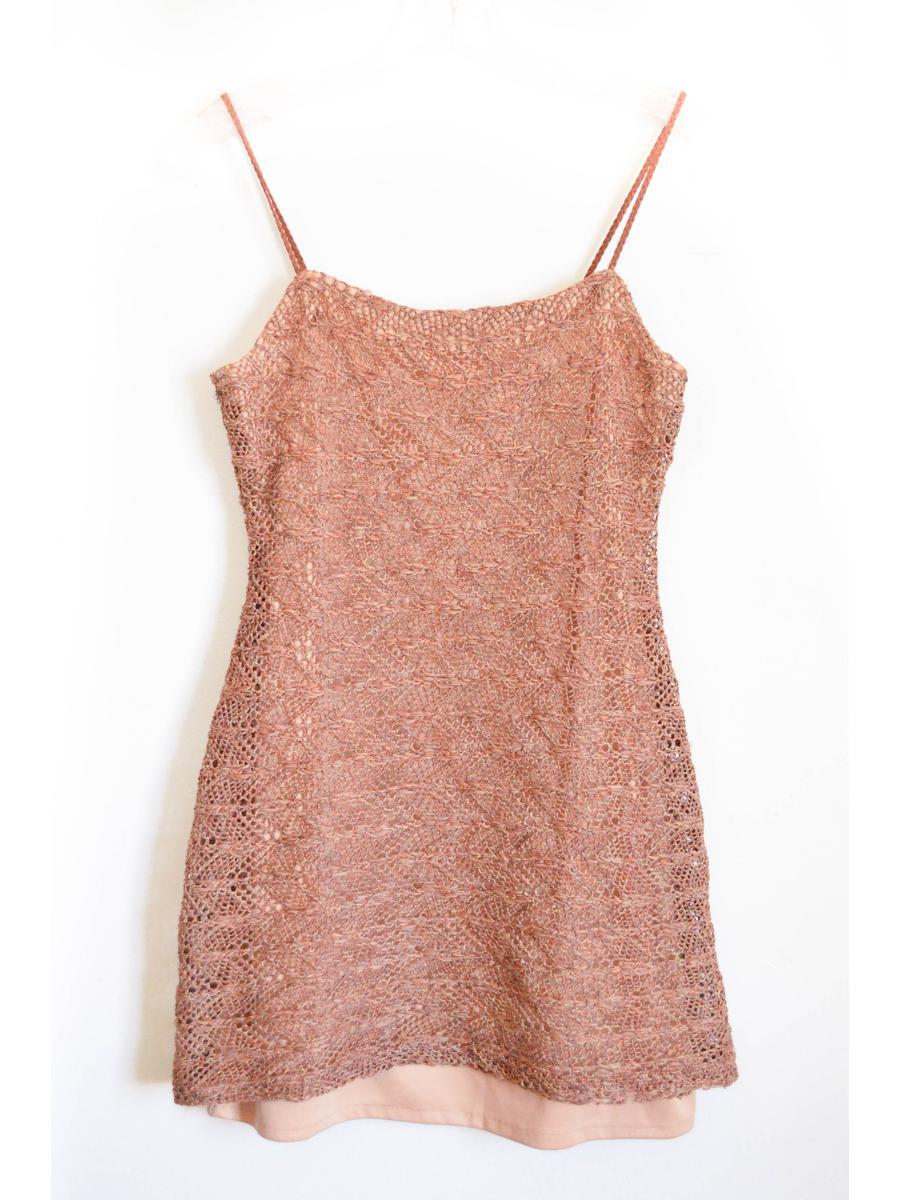 Bown Crochet Y2k Mini Dress Brown Vintage Sheer Knit