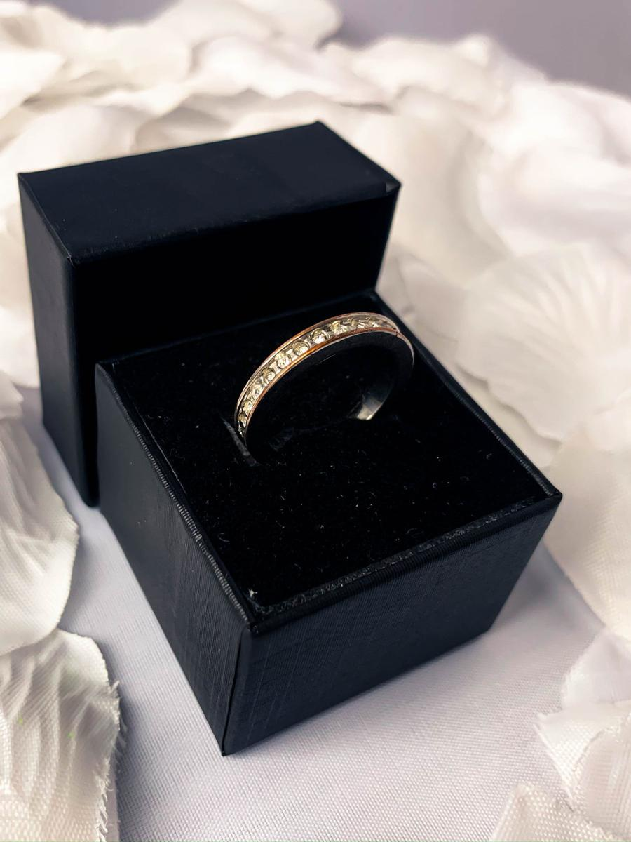 Vintage Silver Tone Orange Rhinestone Eternity Ring, Artsy Art